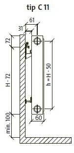 dimensiuni radiator Purmo C11